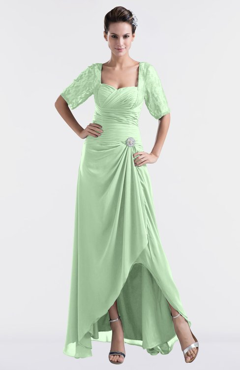 ColsBM Emilia Light Green Modest Sweetheart Short Sleeve Zip up Floor Length Plus Size Bridesmaid Dresses