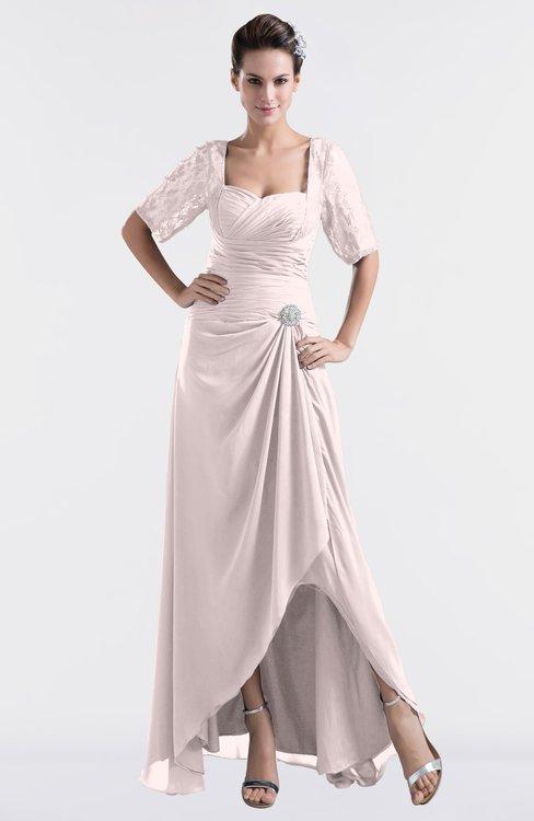 ColsBM Emilia Light Pink Modest Sweetheart Short Sleeve Zip up Floor Length Plus Size Bridesmaid Dresses