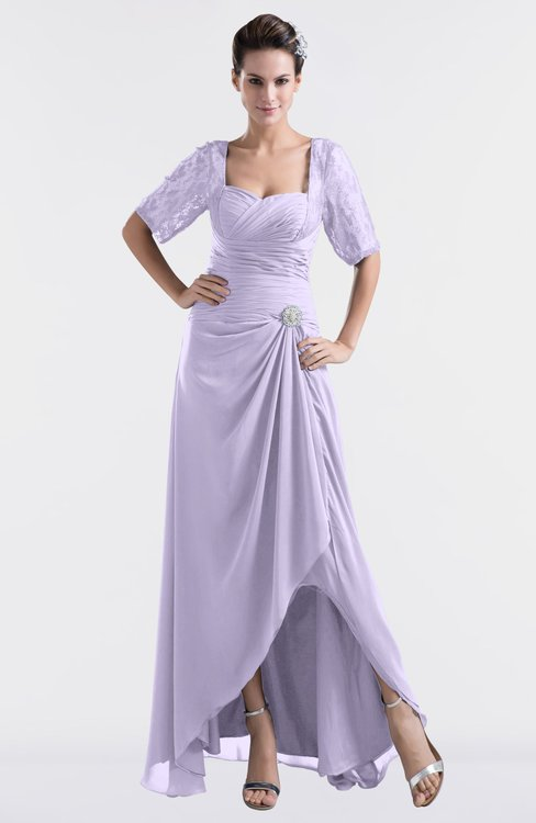 ColsBM Emilia Light Purple Modest Sweetheart Short Sleeve Zip up Floor Length Plus Size Bridesmaid Dresses