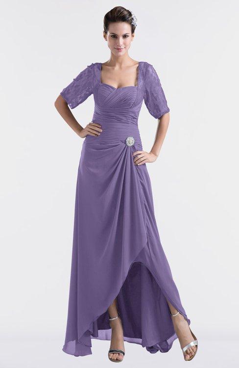 ColsBM Emilia Lilac Modest Sweetheart Short Sleeve Zip up Floor Length Plus Size Bridesmaid Dresses
