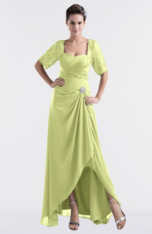 ColsBM Emilia Lime Green Modest Sweetheart Short Sleeve Zip up Floor Length Plus Size Bridesmaid Dresses