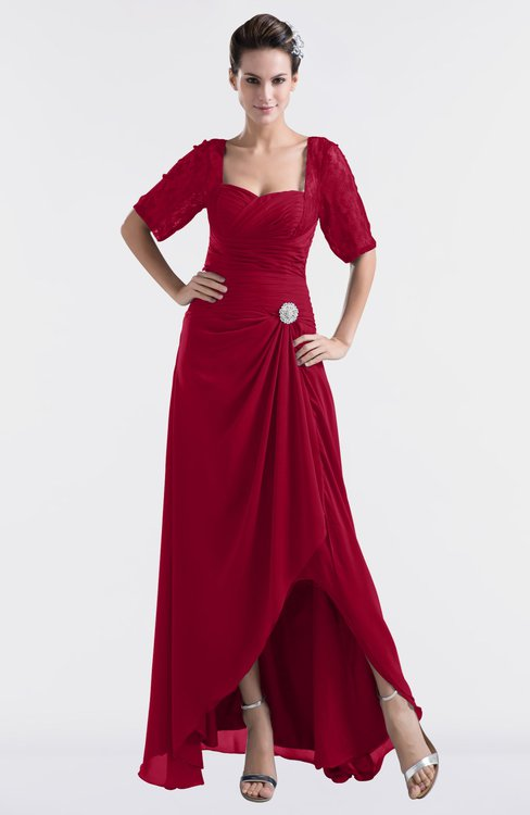 ColsBM Emilia Maroon Modest Sweetheart Short Sleeve Zip up Floor Length Plus Size Bridesmaid Dresses