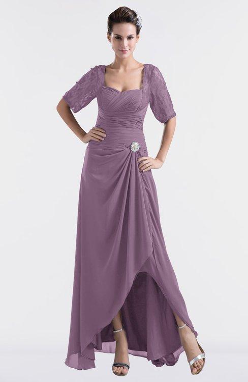 ColsBM Emilia Mauve Modest Sweetheart Short Sleeve Zip up Floor Length Plus Size Bridesmaid Dresses