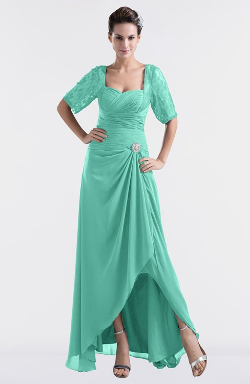 ColsBM Emilia Mint Green Modest Sweetheart Short Sleeve Zip up Floor Length Plus Size Bridesmaid Dresses