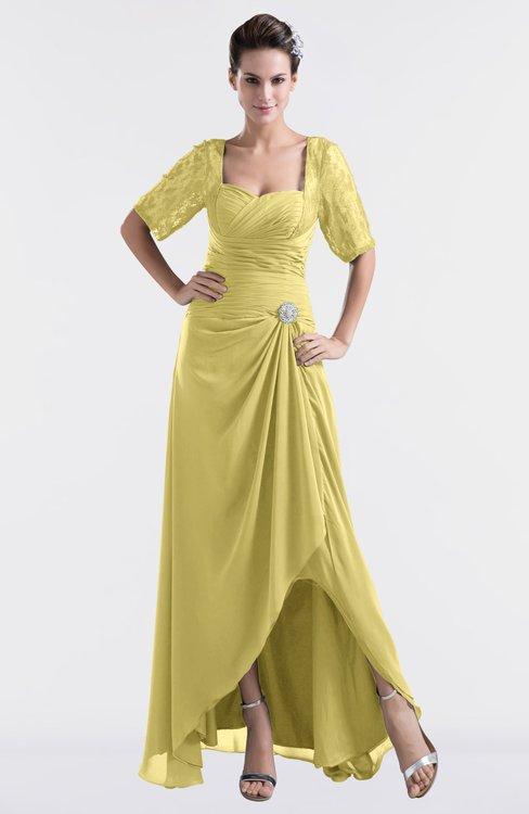 ColsBM Emilia Misted Yellow Modest Sweetheart Short Sleeve Zip up Floor Length Plus Size Bridesmaid Dresses