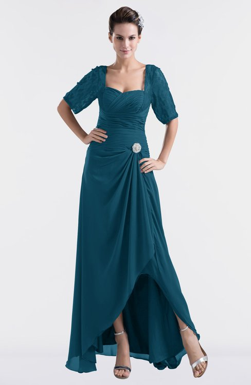 ColsBM Emilia Moroccan Blue Modest Sweetheart Short Sleeve Zip up Floor Length Plus Size Bridesmaid Dresses