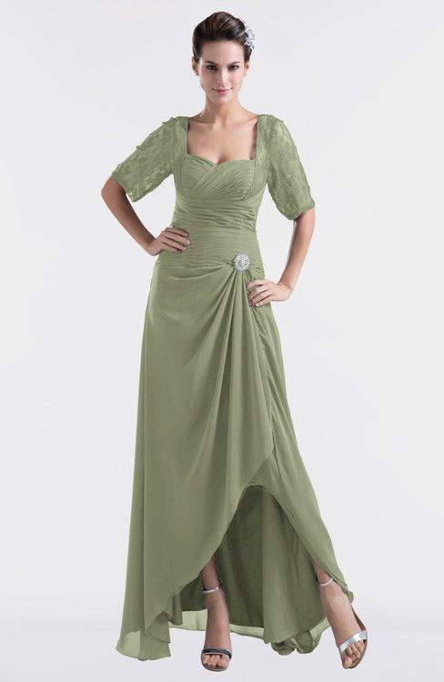 ColsBM Emilia Moss Green Modest Sweetheart Short Sleeve Zip up Floor Length Plus Size Bridesmaid Dresses