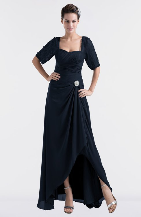 ColsBM Emilia Navy Blue Modest Sweetheart Short Sleeve Zip up Floor Length Plus Size Bridesmaid Dresses