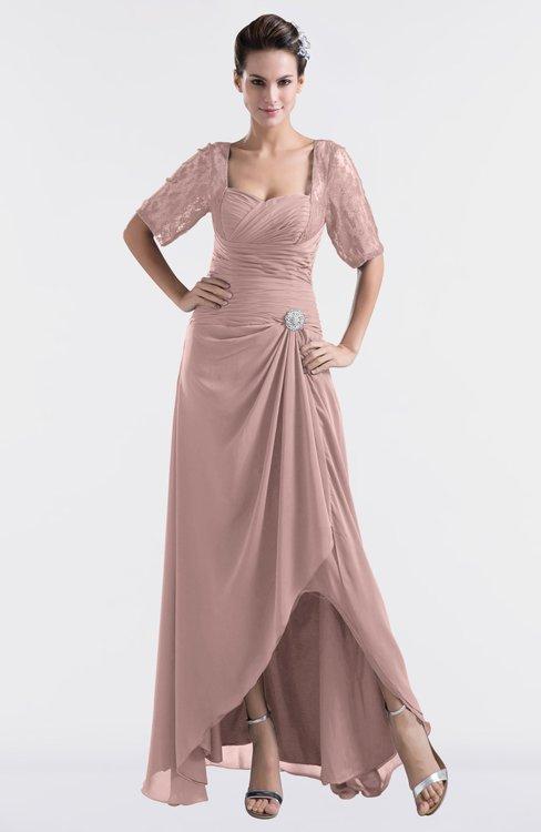 ColsBM Emilia Nectar Pink Modest Sweetheart Short Sleeve Zip up Floor Length Plus Size Bridesmaid Dresses