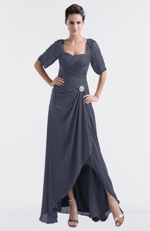 ColsBM Emilia Nightshadow Blue Modest Sweetheart Short Sleeve Zip up Floor Length Plus Size Bridesmaid Dresses