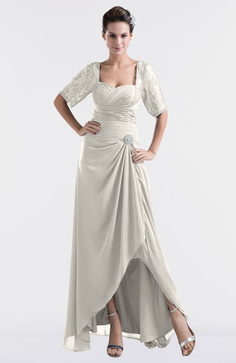 ColsBM Emilia Off White Modest Sweetheart Short Sleeve Zip up Floor Length Plus Size Bridesmaid Dresses