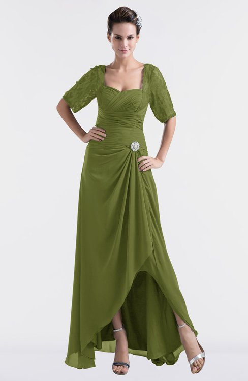 ColsBM Emilia Olive Green Modest Sweetheart Short Sleeve Zip up Floor Length Plus Size Bridesmaid Dresses