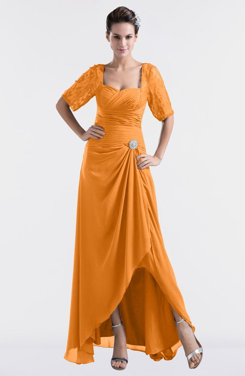 ColsBM Emilia Orange Modest Sweetheart Short Sleeve Zip up Floor Length Plus Size Bridesmaid Dresses