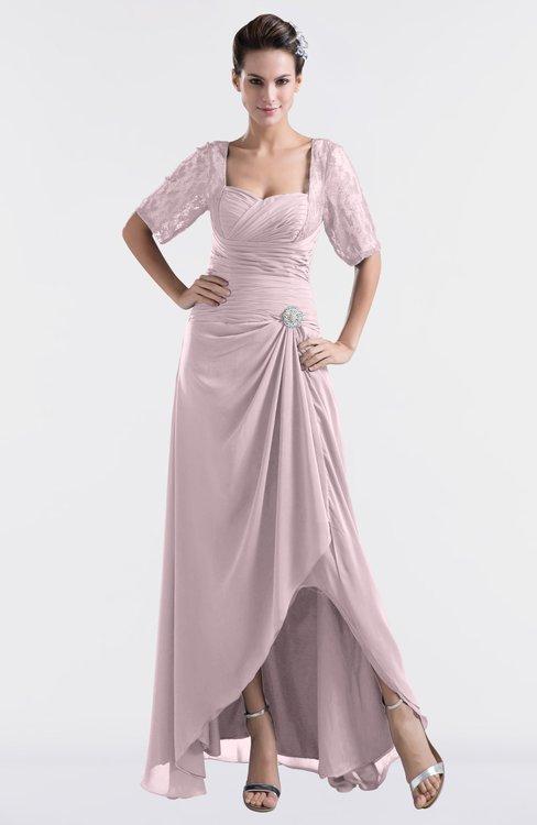 ColsBM Emilia Pale Lilac Modest Sweetheart Short Sleeve Zip up Floor Length Plus Size Bridesmaid Dresses