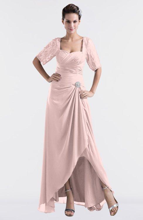 ColsBM Emilia Pastel Pink Modest Sweetheart Short Sleeve Zip up Floor Length Plus Size Bridesmaid Dresses