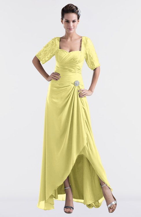 ColsBM Emilia Pastel Yellow Modest Sweetheart Short Sleeve Zip up Floor Length Plus Size Bridesmaid Dresses