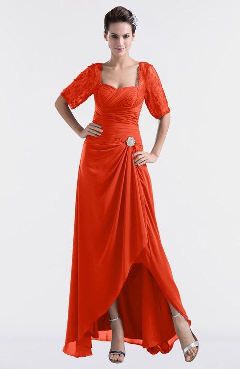 ColsBM Emilia Persimmon Modest Sweetheart Short Sleeve Zip up Floor Length Plus Size Bridesmaid Dresses
