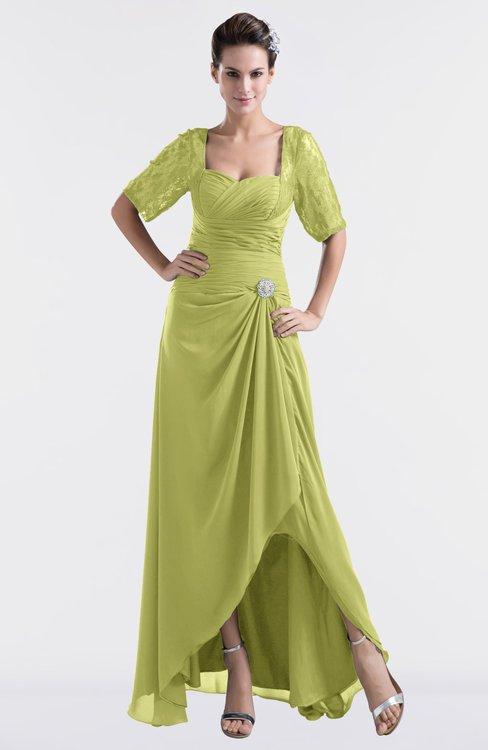 ColsBM Emilia Pistachio Modest Sweetheart Short Sleeve Zip up Floor Length Plus Size Bridesmaid Dresses