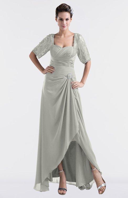 ColsBM Emilia Platinum Modest Sweetheart Short Sleeve Zip up Floor Length Plus Size Bridesmaid Dresses