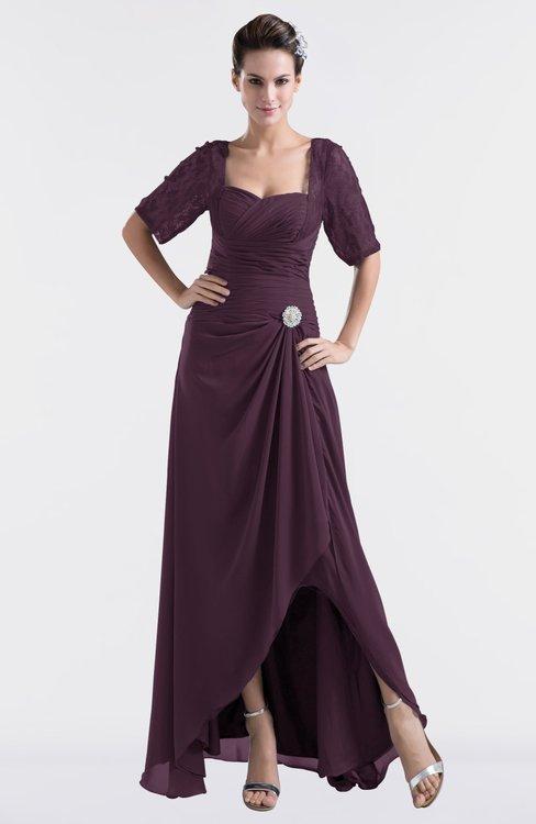 ColsBM Emilia Plum Modest Sweetheart Short Sleeve Zip up Floor Length Plus Size Bridesmaid Dresses
