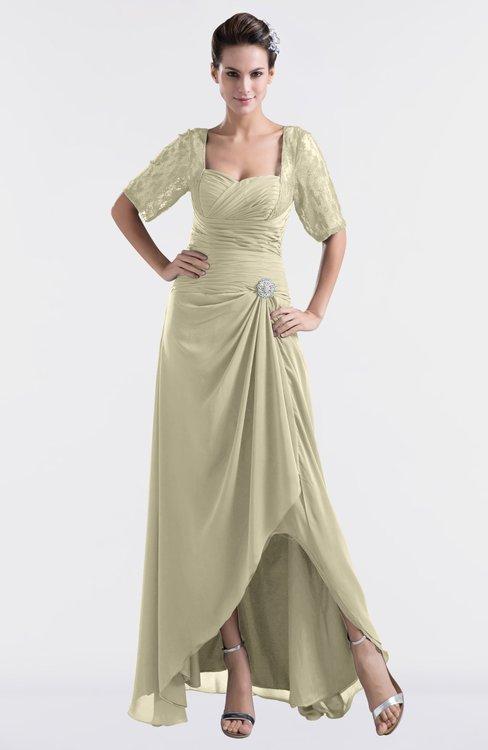 ColsBM Emilia Putty Modest Sweetheart Short Sleeve Zip up Floor Length Plus Size Bridesmaid Dresses