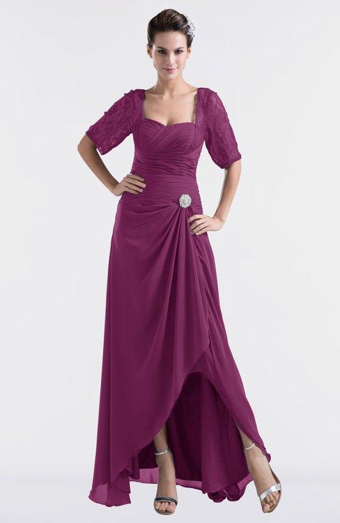 ColsBM Emilia Raspberry Modest Sweetheart Short Sleeve Zip up Floor Length Plus Size Bridesmaid Dresses