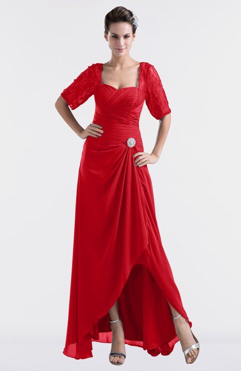 ColsBM Emilia Red Modest Sweetheart Short Sleeve Zip up Floor Length Plus Size Bridesmaid Dresses