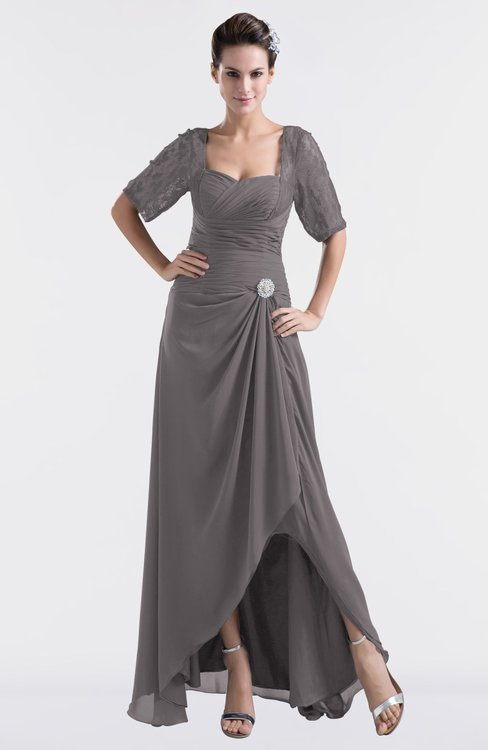 ColsBM Emilia Ridge Grey Modest Sweetheart Short Sleeve Zip up Floor Length Plus Size Bridesmaid Dresses
