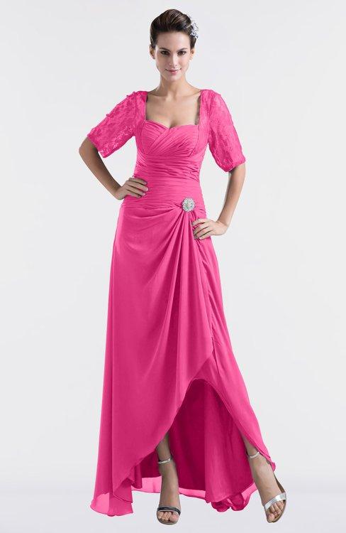 ColsBM Emilia Rose Pink Modest Sweetheart Short Sleeve Zip up Floor Length Plus Size Bridesmaid Dresses