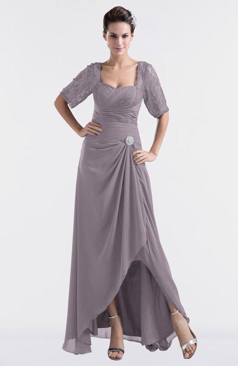 ColsBM Emilia Sea Fog Modest Sweetheart Short Sleeve Zip up Floor Length Plus Size Bridesmaid Dresses
