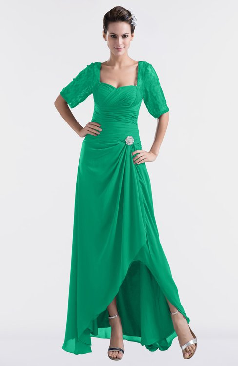 ColsBM Emilia Sea Green Modest Sweetheart Short Sleeve Zip up Floor Length Plus Size Bridesmaid Dresses