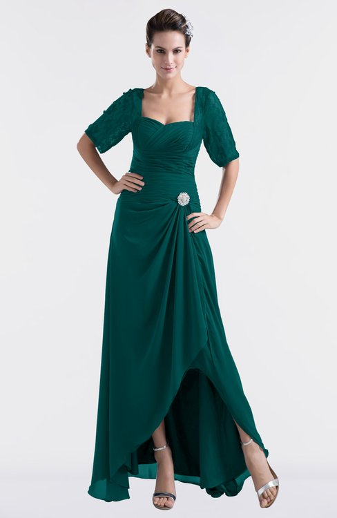 ColsBM Emilia Shaded Spruce Modest Sweetheart Short Sleeve Zip up Floor Length Plus Size Bridesmaid Dresses