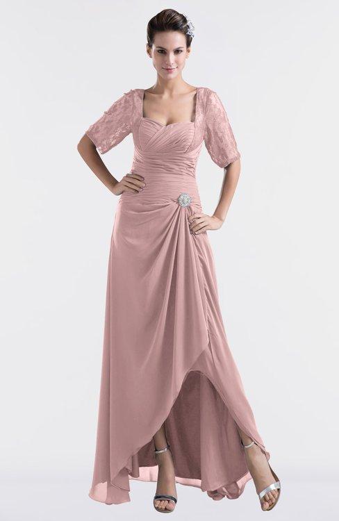 ColsBM Emilia Silver Pink Modest Sweetheart Short Sleeve Zip up Floor Length Plus Size Bridesmaid Dresses