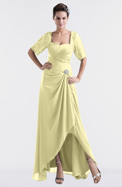 ColsBM Emilia Soft Yellow Modest Sweetheart Short Sleeve Zip up Floor Length Plus Size Bridesmaid Dresses
