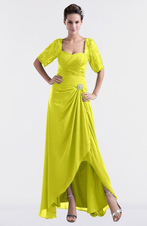 ColsBM Emilia Sulphur Spring Modest Sweetheart Short Sleeve Zip up Floor Length Plus Size Bridesmaid Dresses