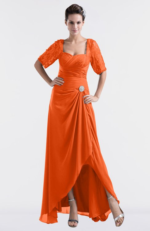 ColsBM Emilia Tangerine Modest Sweetheart Short Sleeve Zip up Floor Length Plus Size Bridesmaid Dresses