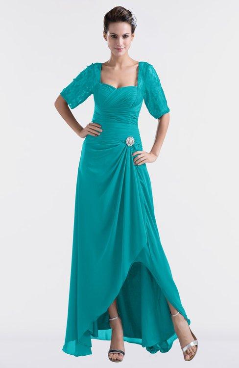 ColsBM Emilia Teal Modest Sweetheart Short Sleeve Zip up Floor Length Plus Size Bridesmaid Dresses