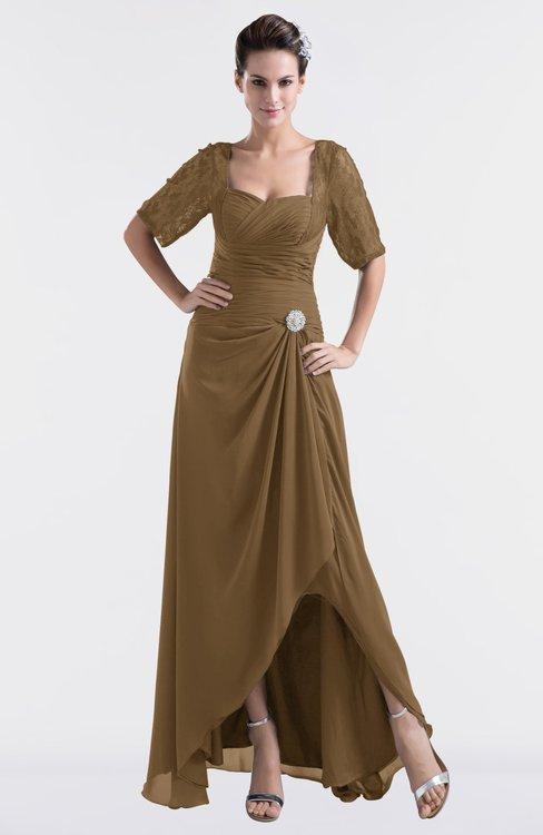 ColsBM Emilia Truffle Modest Sweetheart Short Sleeve Zip up Floor Length Plus Size Bridesmaid Dresses