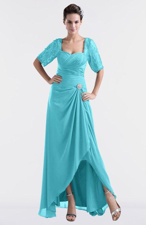 ColsBM Emilia Turquoise Modest Sweetheart Short Sleeve Zip up Floor Length Plus Size Bridesmaid Dresses