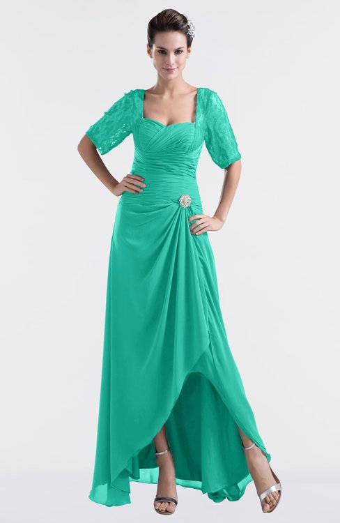 ColsBM Emilia Viridian Green Modest Sweetheart Short Sleeve Zip up Floor Length Plus Size Bridesmaid Dresses