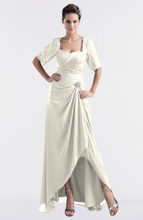 ColsBM Emilia Whisper White Modest Sweetheart Short Sleeve Zip up Floor Length Plus Size Bridesmaid Dresses