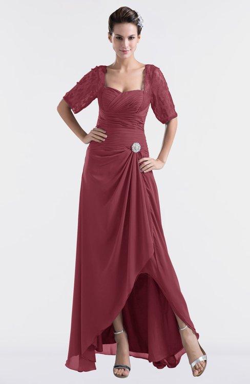ColsBM Emilia Wine Modest Sweetheart Short Sleeve Zip up Floor Length Plus Size Bridesmaid Dresses