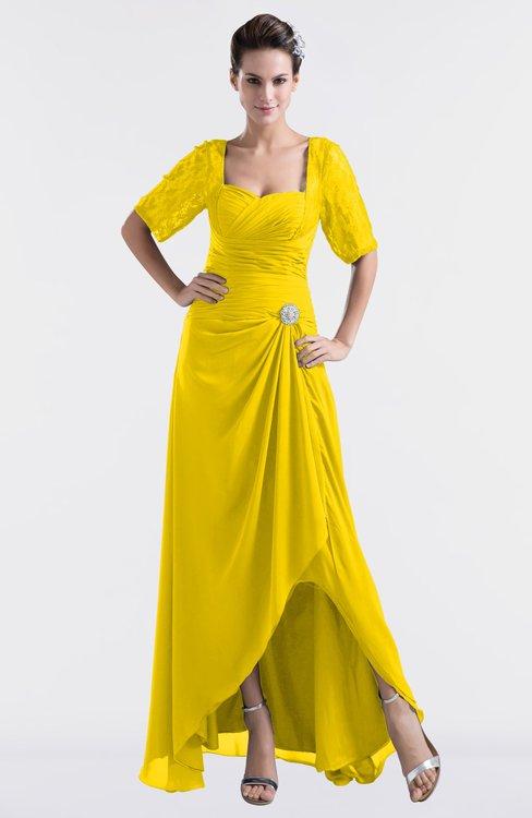 ColsBM Emilia Yellow Modest Sweetheart Short Sleeve Zip up Floor Length Plus Size Bridesmaid Dresses