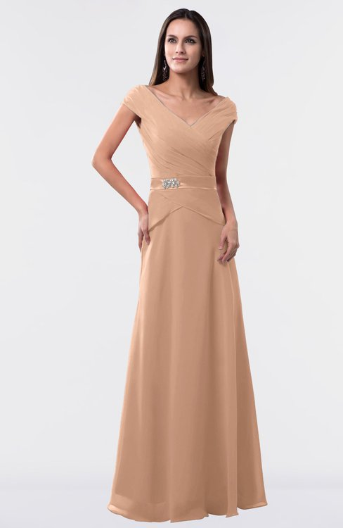 ColsBM Madelyn Almost Apricot Informal A-line Portrait Zipper Floor Length Ruching Plus Size Bridesmaid Dresses