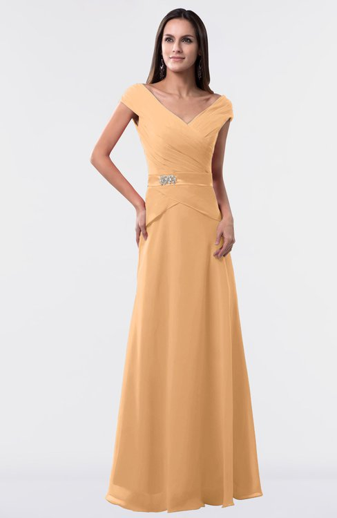 ColsBM Madelyn Apricot Informal A-line Portrait Zipper Floor Length Ruching Plus Size Bridesmaid Dresses