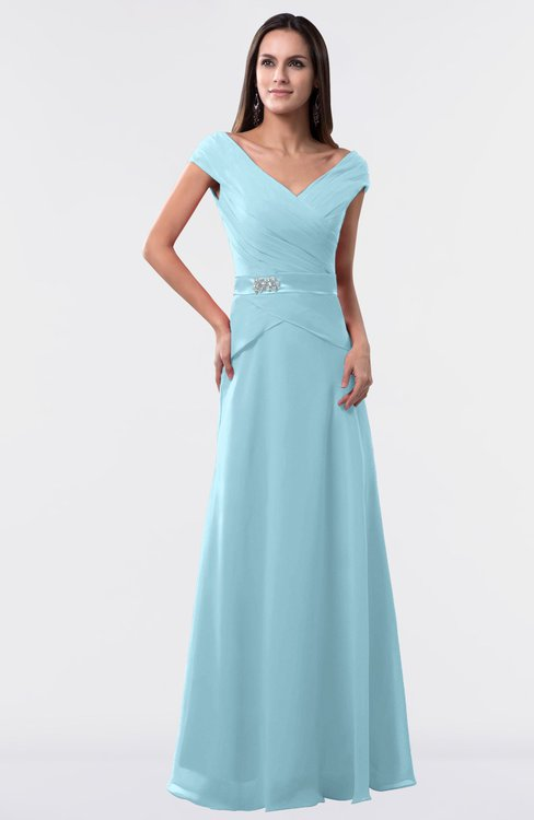ColsBM Madelyn Aqua Informal A-line Portrait Zipper Floor Length Ruching Plus Size Bridesmaid Dresses