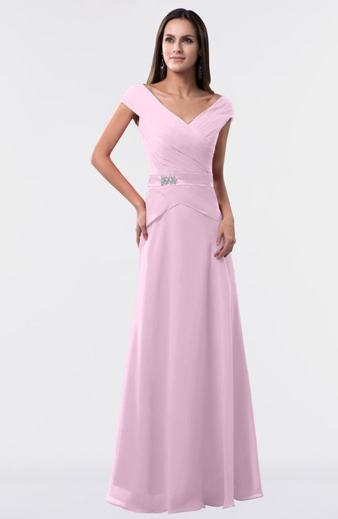 ColsBM Madelyn Baby Pink Informal A-line Portrait Zipper Floor Length Ruching Plus Size Bridesmaid Dresses