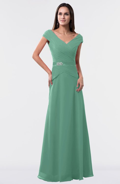 ColsBM Madelyn Beryl Green Informal A-line Portrait Zipper Floor Length Ruching Plus Size Bridesmaid Dresses