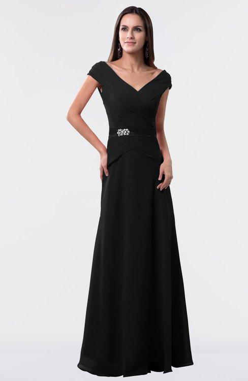 ColsBM Madelyn Black Informal A-line Portrait Zipper Floor Length Ruching Plus Size Bridesmaid Dresses