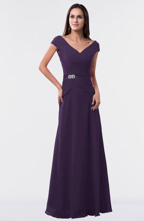 ColsBM Madelyn Blackberry Cordial Informal A-line Portrait Zipper Floor Length Ruching Plus Size Bridesmaid Dresses